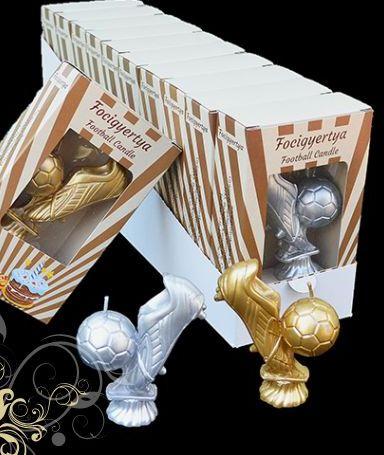 Sviečka futbalová lopta+kopačka zlatá