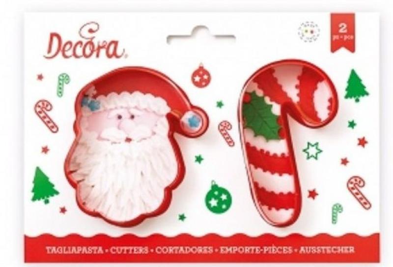 Sada 2 ks vianočných vykrajovačiek Santa + palička